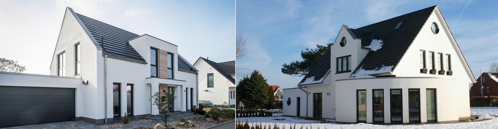 Zeitlos, modern und symmetriebetont präsentieren sich diese Entwürfe wenn Sie ein Einfamilienhaus in Düsseldorf bauen möchten.